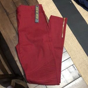 Moto jeggings , more of a burgundy/ maroon